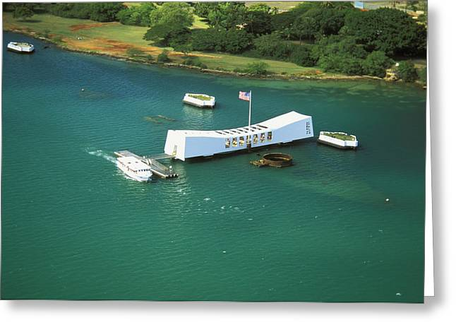 Arizona Memorial From Above Greeting Card by Peter French - Printscapes