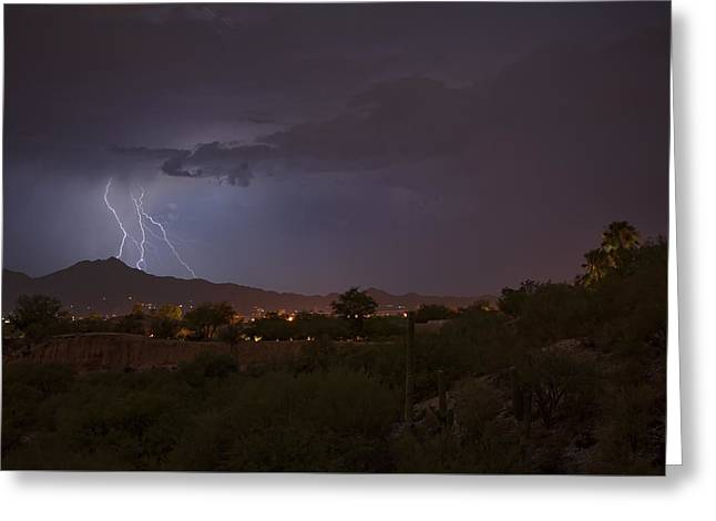 Greeting Card featuring the photograph Arizona Monsoon Lightning by Dan McManus