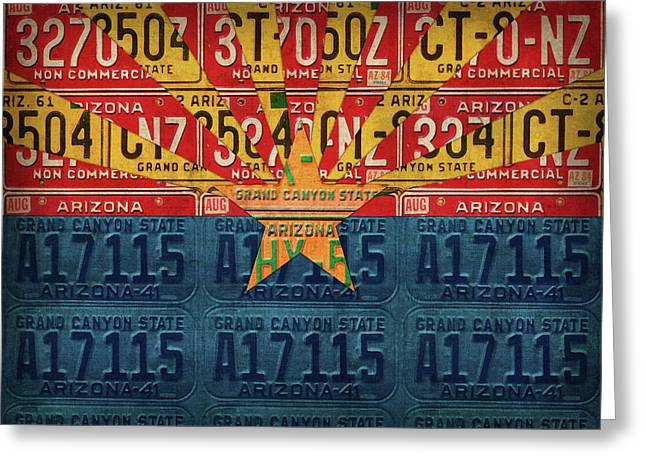 Arizona State Flag Vintage License Plate Art Greeting Card by Design Turnpike