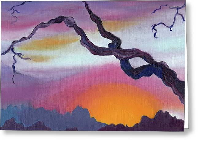 Arizona Sunset Greeting Card by Suzanne  Marie Leclair