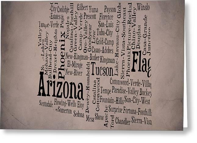 Arizona Typographic Map Greeting Card