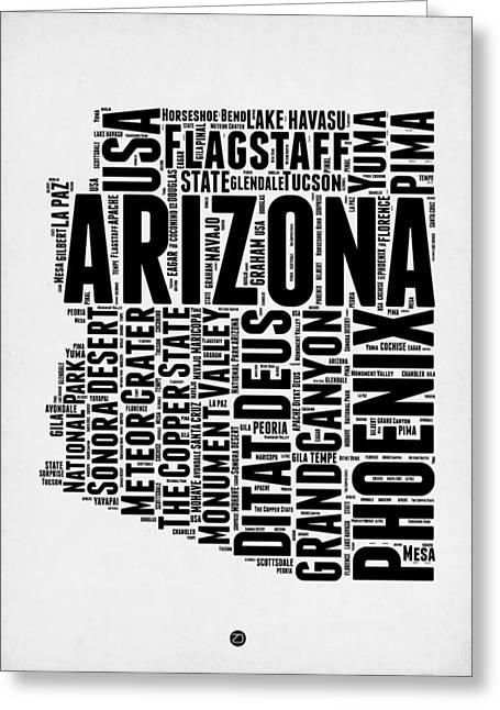 Arizona Word Cloud Map 2 Greeting Card by Naxart Studio