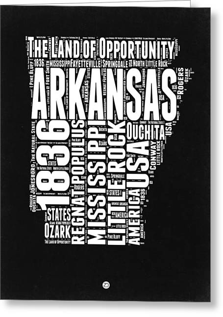 Arkansas Black And White Map Greeting Card by Naxart Studio