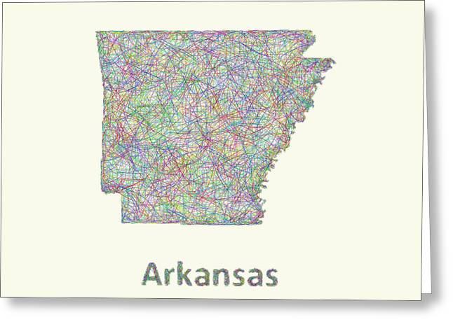 Arkansas Line Art Map Greeting Card by David Zydd