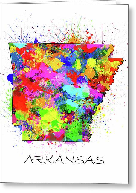 Arkansas Map Color Splatter Greeting Card