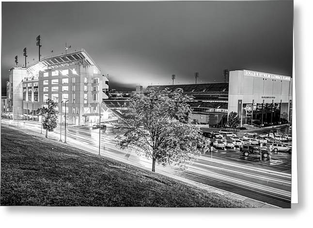 Arkansas Razorback Football Stadium At Night - Fayetteville Arkansas Black And White Greeting Card