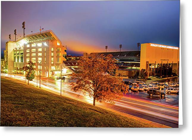 Arkansas Razorback Football Stadium At Night - Fayetteville Arkansas Greeting Card by Gregory Ballos