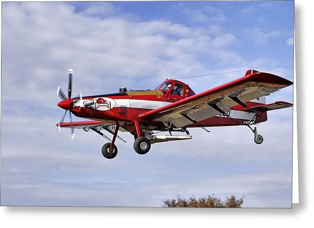 Air Tractors Greeting Cards - Arkansas Razorbacks Crop Duster Greeting Card by Jason Politte