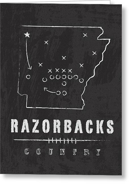 Arkansas Razorbacks / Ncaa College Football Art / Fayetteville Greeting Card by Damon Gray