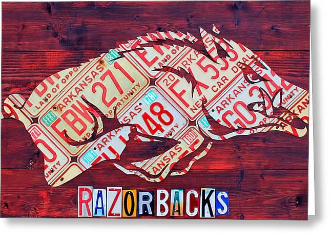 Arkansas Razorbacks Recycled Vintage License Plate Art Sports Team Logo Greeting Card