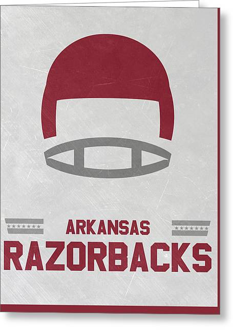 Arkansas Razorbacks Vintage Football Art Greeting Card by Joe Hamilton