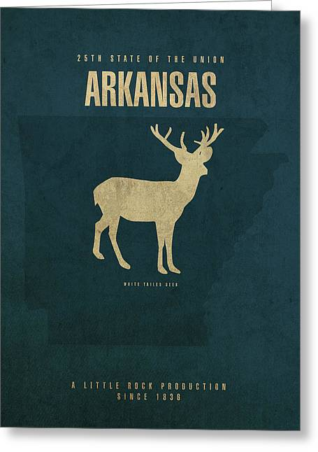 Arkansas State Facts Minimalist Movie Poster Art Greeting Card by Design Turnpike