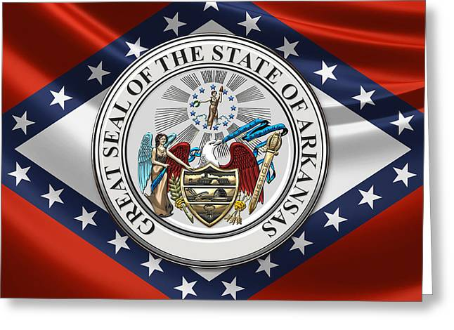 Arkansas State Seal Over Flag Greeting Card