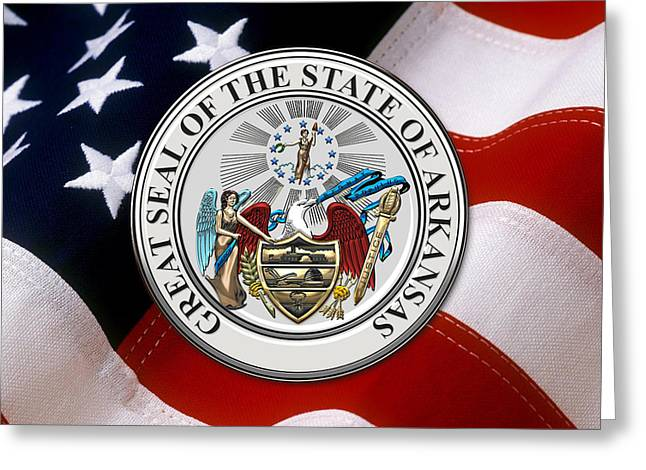 Arkansas State Seal Over U.s. Flag Greeting Card