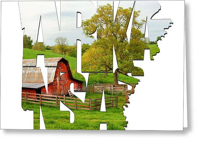 Arkansas Typographic Artwork - Pure Arkansas Greeting Card by Gregory Ballos
