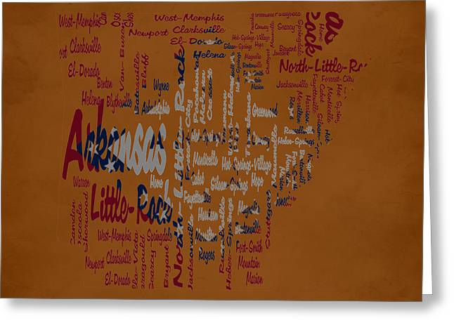 Arkansas Typographic Map Greeting Card by Brian Reaves