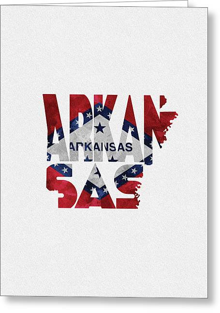 Arkansas Typographic Map Flag Greeting Card