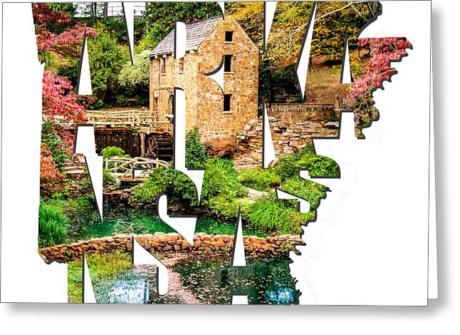 Arkansas Typography - Afternoon At The Old Mill - Arkansas Greeting Card by Gregory Ballos