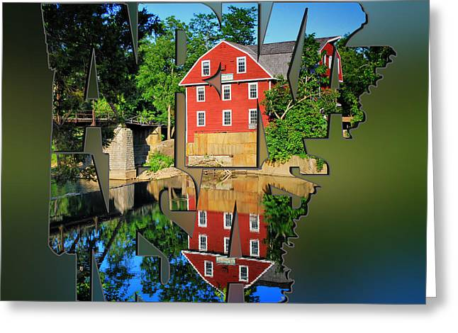 Arkansas Typography Blur - State Shapes Series - War Eagle Mill And Bridge - Arkansas Greeting Card by Gregory Ballos