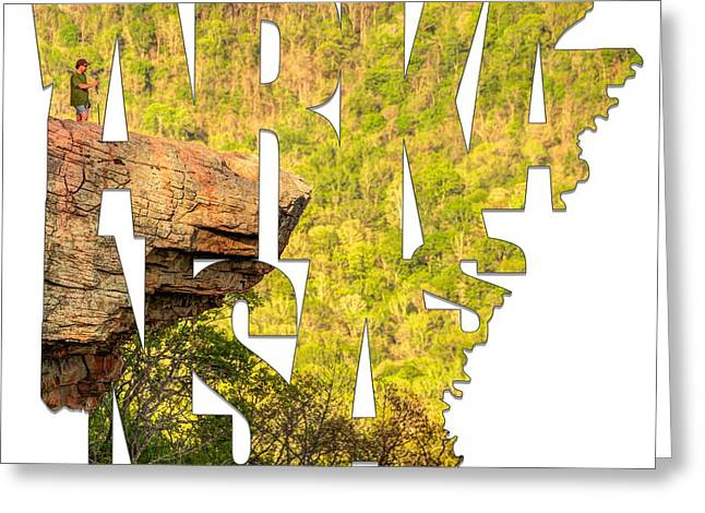 Arkansas Typography - Perspective - Whitaker Point Hawksbill Crag Greeting Card by Gregory Ballos
