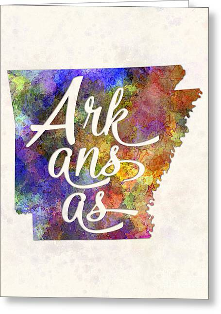 Arkansas Us State In Watercolor Text Cut Out Greeting Card by Pablo Romero