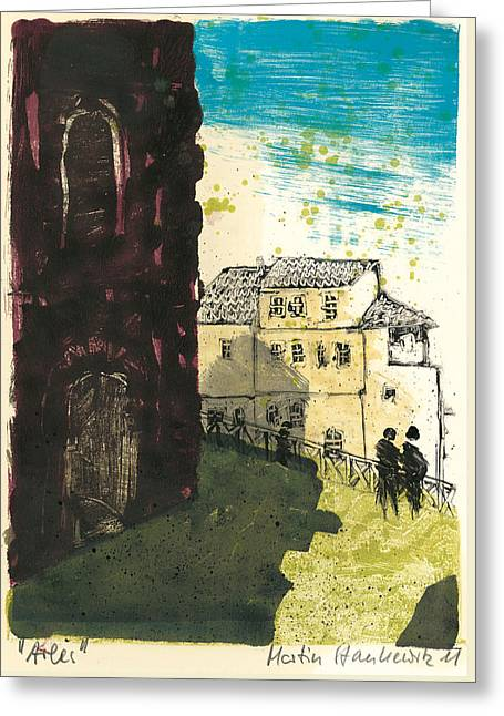 Greeting Card featuring the painting Arles Near Arena Provence by Martin Stankewitz