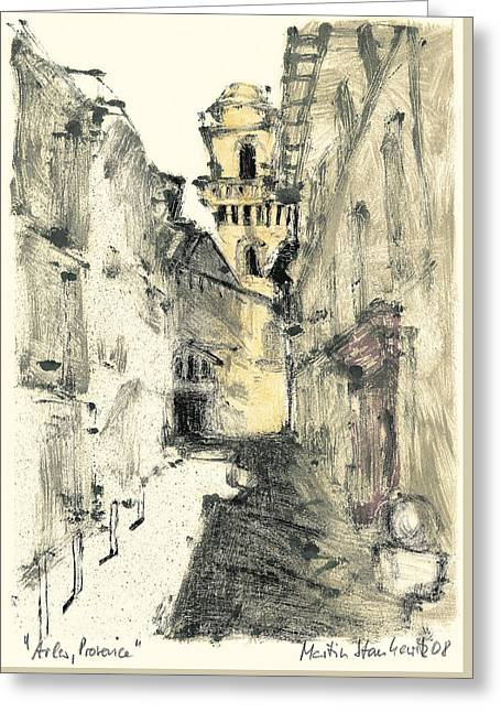 Greeting Card featuring the painting Arles Provence by Martin Stankewitz