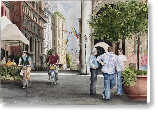 Arles Street Greeting Card by Sam Sidders