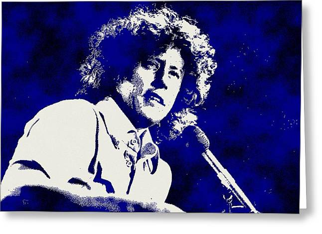 Arlo Guthrie Blue Greeting Card by Otis Porritt