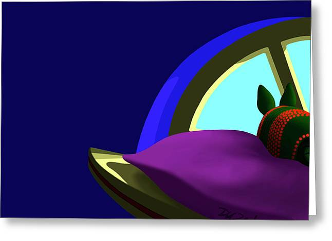 Armadillo On A Pillow Greeting Card by Tom Dickson