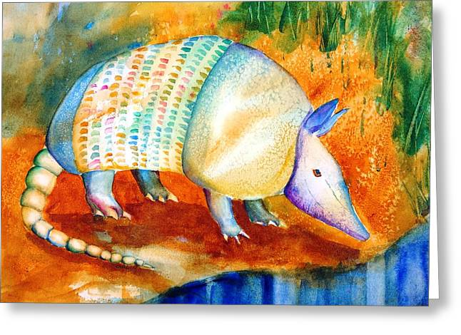 Armadillo Reflections Greeting Card by Carlin Blahnik