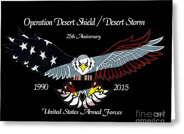 Armed Forces Desert Storm Greeting Card by Bill Richards