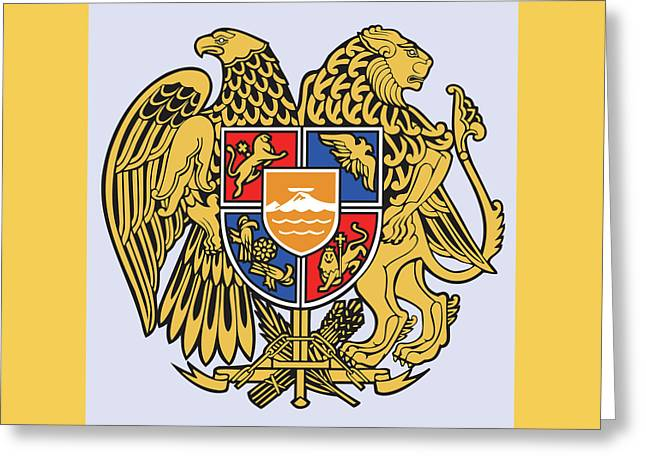 Greeting Card featuring the drawing Armenia Coat Of Arms by Movie Poster Prints