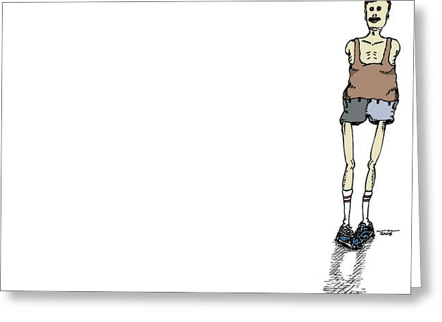 Armless Man With Short Shorts Greeting Card by Karl Addison
