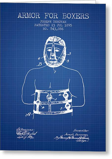 Armor For Boxers Patent From 1895 - Blueprint Greeting Card by Aged Pixel