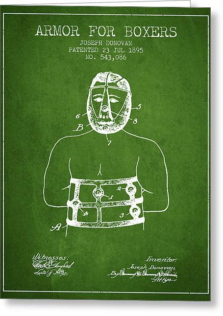 Armor For Boxers Patent From 1895 - Green Greeting Card by Aged Pixel