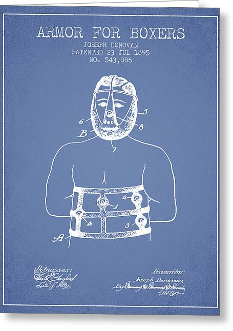 Armor For Boxers Patent From 1895 - Light Blue Greeting Card by Aged Pixel