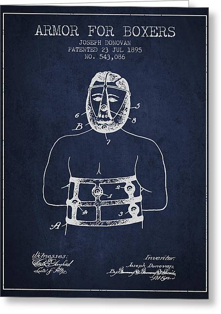 Armor For Boxers Patent From 1895 - Navy Blue Greeting Card by Aged Pixel