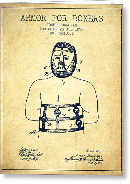 Armor For Boxers Patent From 1895 - Vintage Greeting Card by Aged Pixel