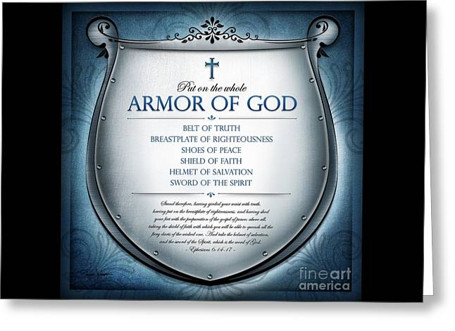 Greeting Card featuring the digital art Armor Of God by Shevon Johnson