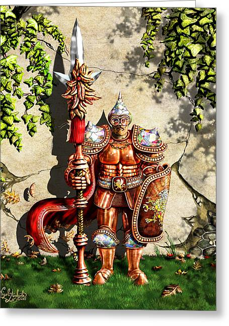 Armored Imperial Gryphon Guard Wielding A Shield And Ranseur Greeting Card by Nigel Andreola