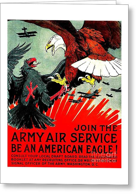 Army Air Service Recruitment Poster 1918 Greeting Card