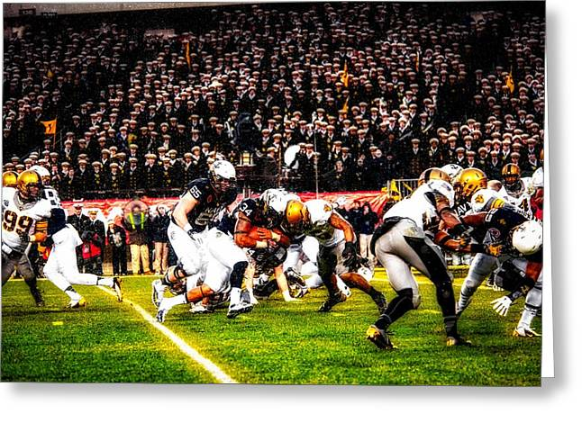 Army And Navy Battle In The Snow Greeting Card