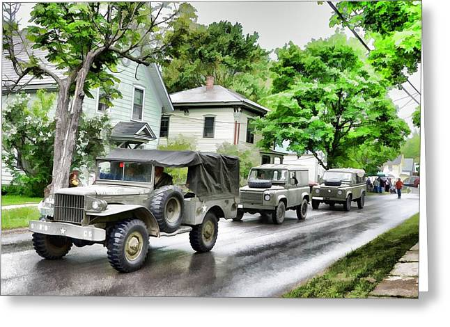 Army Jeeps On Parade Greeting Card