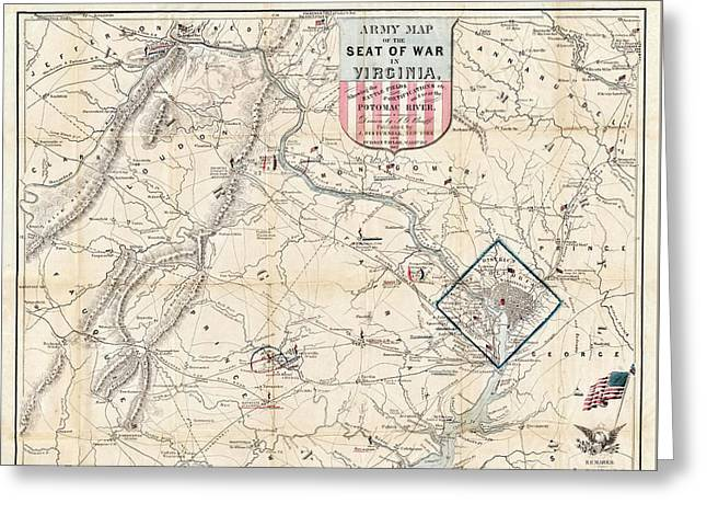 Army Map Of Seat Of War In Virginia 1862 Greeting Card