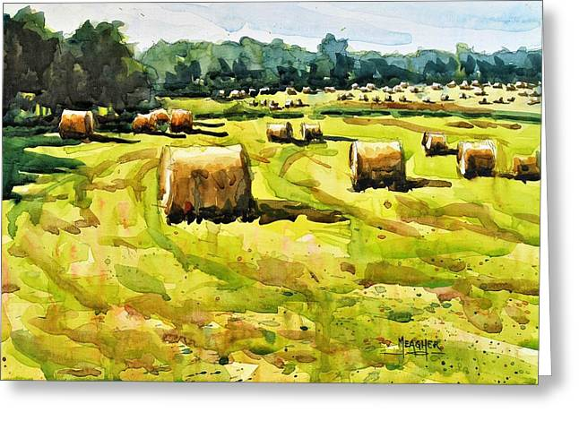Army Of Hay Bales Greeting Card by Spencer Meagher