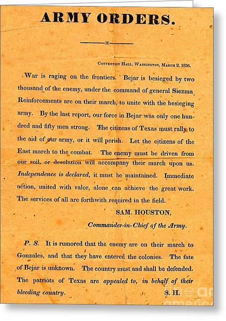 Texian Army Orders Call To Arms Broadside From Sam Houston 1836 Texas Revolution Greeting Card