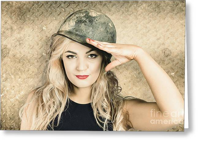 Army Pin-up Girl Signing Up For Recruit Enrolment  Greeting Card