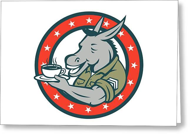 Army Sergeant Donkey Coffee Circle Cartoon Greeting Card by Aloysius Patrimonio
