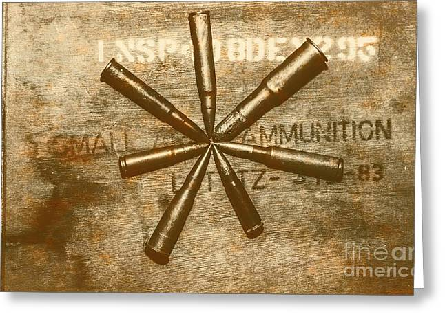 Army Star Bullets Greeting Card by Jorgo Photography - Wall Art Gallery